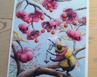 Signed Print, Spindle Berry Bumble Bee Illustration