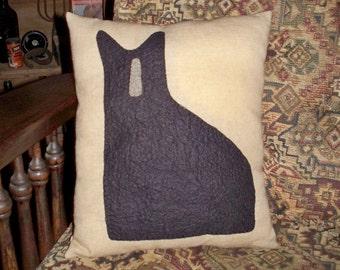 Prim Cat Silhouette Pillow