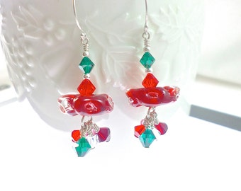 Glass Bead Earrings, Red Dangle Earrings, Boro Lampwork Earrings, Lampwork Jewelry, Beadwork Drop Earrings, Beaded Earrings