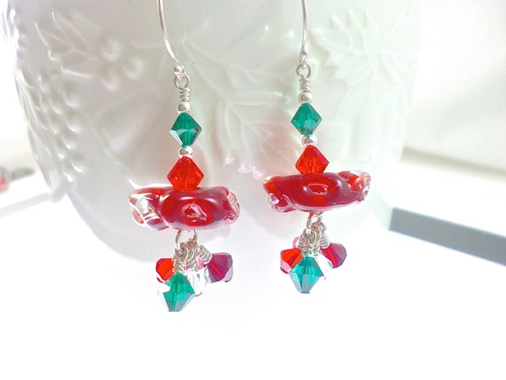 Glass Bead Earrings, Red Dangle Earrings, Boro Lampwork Earrings, Lampwork Jewelry, Beadwork Drop Earrings, Beaded Earrings