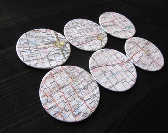 Kansas Vintage Map Coasters (Set of 6)