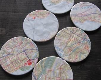 North Shore Vintage Map Coasters (Set of 6)