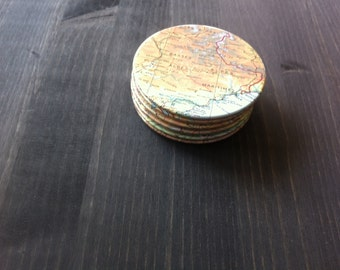The Alps Vintage Map Coasters (Set of 6)