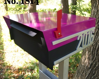 Custom House Number Mailbox No. 1814 Post Mount in Powder Coated Aluminum