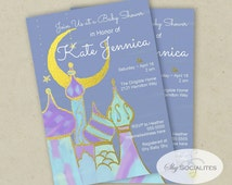 Arabian Nights Invitation | Arabian Tales Baby Shower | Moon and Stars Baby Shower | Editable Text PDF that you personalize in Adobe Reader