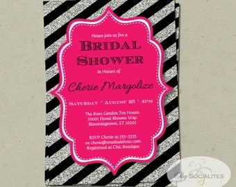 Pink, Black & Silver Glitter Invitation | Bridal Shower, Baby Shower, Birthday, Wedding | INSTANT DOWNLOAD