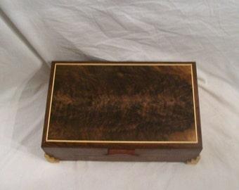 Jewelry Box Handmade from Fancy Walnut done in the Art Deco Style 14 1/2'' x9 1/2'' x5''
