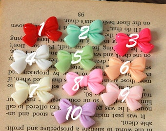 Big Sale-20pcs Beautiful  Mix Colorful  bowknot  Resin Cabochon -10colors- 24x15mm(CAB-CDA-MIXSS)
