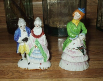 Vintage Figurines Occupied Japan Collectibles Porcelain Couple & Lady 1940's