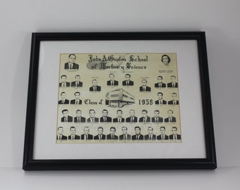 Vintage Mortuary Mortician Science Class Photo Metal Framed Funeral Embalming Oddity Halloween Decor