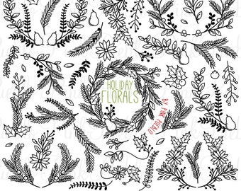 Christmas Floral Silhouettes Clipart Clip Art, Christmas Holiday Laurel Wreath Leaf Clip Art Clipart Vectors - Commercial and Personal Use