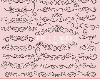 Doodle Flourishes Swirls Clipart Clip Art Vectors, Digital Flourish Swirls, Great for Wedding Invitations - Commercial and Personal Use