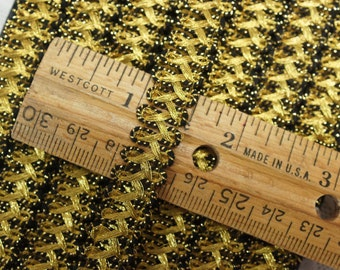 Vintage Sewing Trim Gold and Black Metal Thread Very Vintage 8-1/2 Yards