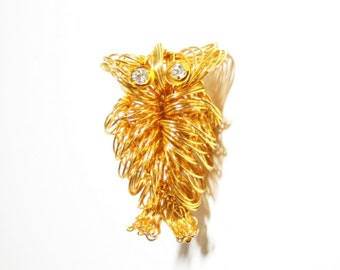 1970s Owl  Wire Wrap Owl Pin  Free Form Owl  Gold Owl Brooch  1970s Fashion Vintage Owl  Bird Pin Bird Brooch Costume Jewelry Owl Jewelry