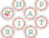 Strawberry Banner - Happy Birthday - Round Buntings - Instant Download - Print your own