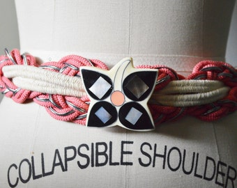 Vintage Belt 1980s Rope Belt Pink and White Belt with Large Inlaid Mother of Pearl Abstract Flower Medallion Stretch Elastic Rope with Hook