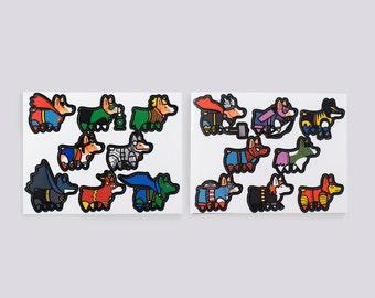 Small Super Corgi vinyl stickers - two teams of superhero corgi dogs