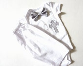 Personalized White Seersucker Baptism, Christening, and Dedication Outfit with Matching Removable Bow Tie