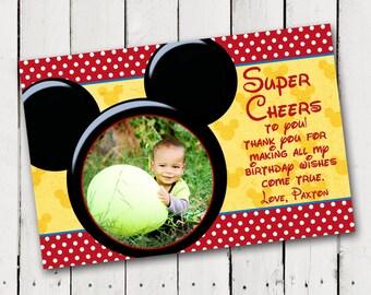 Birthday Thank You card Mickey Mouse Custom Printable