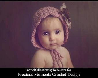 Newborn Girl Crochet Hat,  Baby Girl Hat Photo Prop, Crochet Baby Bonnet, Newborn Baby Girl Crochet Photo Prop