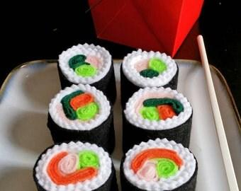 Felt play food sushi rolls