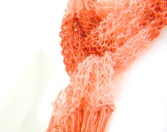 Mary Poppins Inspired  Knit Scarf, Lacy Scarf in Apricot and Burnt Orange, Mary Poppins Costume, sca001/mp