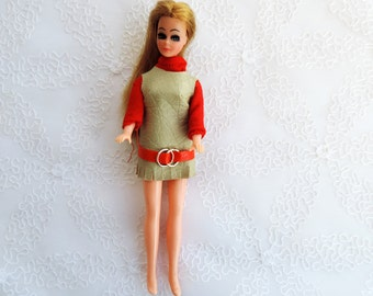 """FREE SHIPPING Dawn Doll by Topper 60's  -70's Tiny Fashion Dolls 6"""" High in Jumper Style Dress with Shirt"""