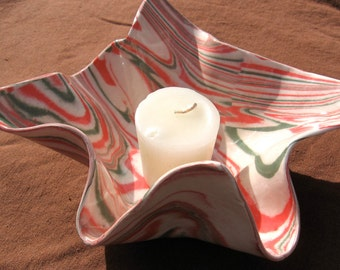 10% off - Ceramics and Pottery Ceramic Bowl or Candle Holder - Red, Green, and White Marbled Stoneware Pottery Agateware - Christmas Bowl
