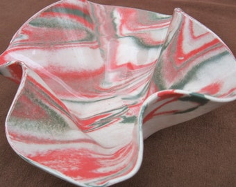 Ceramics and Pottery Handmade Christmas Pottery Bowl - Red and Green Marbled Stoneware Agateware - Slab Built Handmade Gift
