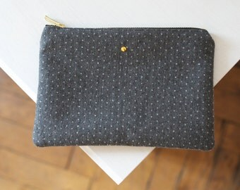 DUDE Pouch - Grey and white polka dots