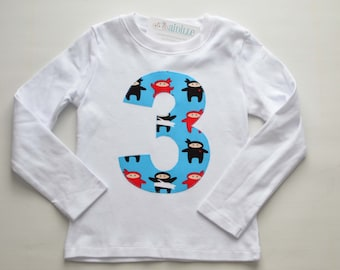 Boys 3rd Birthday Shirt, Size 3T, Ninja Applique Shirt, Number 3 Shirt, Blue Red Black, Ready to Ship, White Long Sleeve, Third Birthday