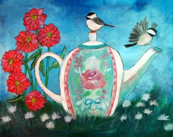 Whimsical Wall Art, Chickadee Birds and Teapot Acrylic Painting, Original Decor, Cottage Whimsy, Countryside Landscape, Nature Art