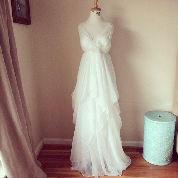 Estee-Romantic Whimsical V Neck Chiffon Wedding Dress