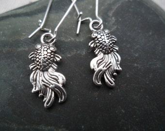 Silver Koi Fish Earrings - Silver Fish Earrings - Simple Everyday Silver Earrings