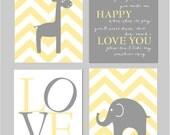 "Gray and Yellow Zig Zag Nursery Prints You Are My Sunshine Elephant Giraffe Love Nursery Art Chevron Prints Set of four 8""x10"" prints"