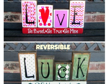 Valentine's St Patrick's day REVERSIBLE holiday blocks