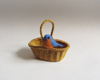 Bluebird needle felted miniature MADE TO ORDER