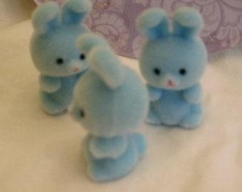 3 mini flocked bunnies soft velvety feel LIGHT BLUE OR light yellow 1 1/2