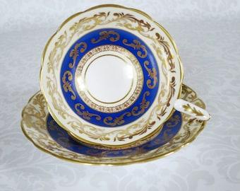 Royal Stafford Tea Cups  /  Blue Gold Chintz Tea Cup and Saucer Set  /  Vintage Bone China Tea Cups Teacup Set  /  SwirlingOrange11