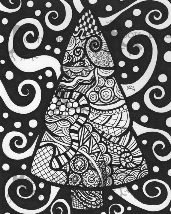 instant download printable christmas zentangle by rootsdesign