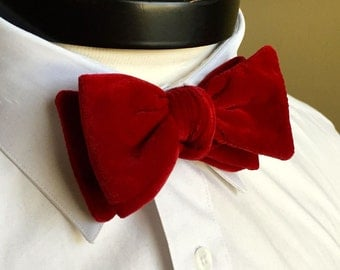 The George- Our velvet bowtie in bright red