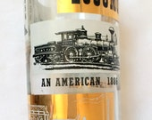 Glass Jar Decanter Locomotives Trains Gold Frost Black Design L&L Glass Company
