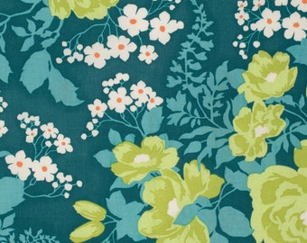 Rose Bouquet in Eucalyptus (pwJD047) - FLORA - Joel Dewberry  - Free Spirit Fabric - 1 yard