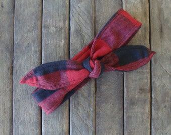 Buffalo Plaid Flannel Winter Skinny Headband Red and Black Large Check Flannel Teen Women Hair Accessory