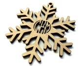 Laser Cut Birch Wood Snowflake Ornament