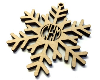 Laser Cut Birch Wood Snowflake Ornament