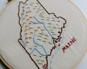 Maine State Map Wall Art. Hand Embroidery Hoop Art. State Art. Christmas gift Him. State Outline. Graduation Gift. Teacher Christmas Gift.