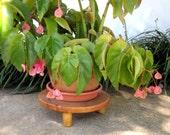 Wooden Plant Stand, Short Wood Plant Pot Riser, Primitive Handmade Round Legged Stool