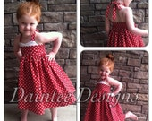 Red Polka Dot Halter Dress Size 6 7 8