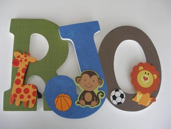 Wood Letter Set for Boy Nursery - Safari Sports Theme - Lion, Giraffe, Elephant, Soccer, Football, Baseball - Baby Shower Gift